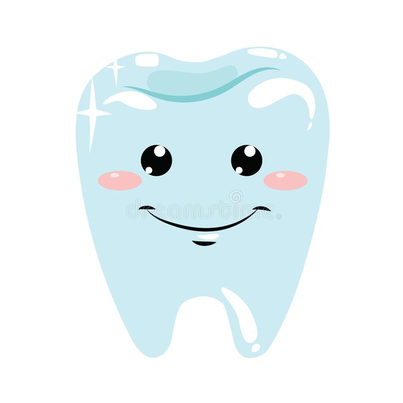 A healthy tooth. Hygiene of the oral cavity. Vector illustration for dental clinic. A cartoon drawing for children. Logo. A healthy tooth. Hygiene of the oral royalty free illustration