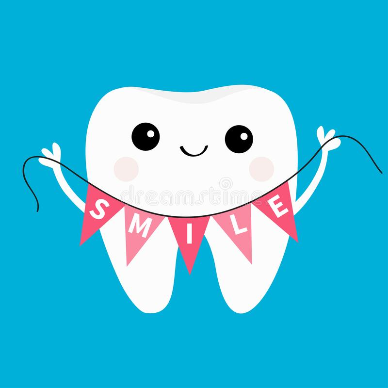 Healthy tooth icon holding bunting flag Smile. Oral dental hygiene. Children teeth care. Cute cartoon character. Smiling head face. Hands up. Whitening concept royalty free illustration