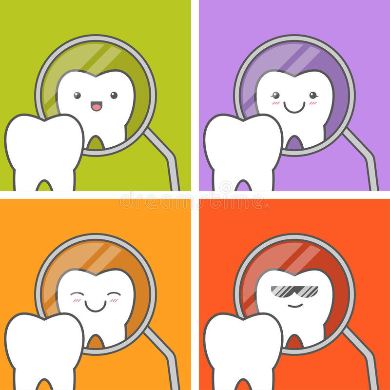 Healthy tooth looks in mirror. stock illustration