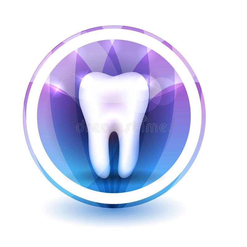 Healthy tooth Sign. Round shape colorful overlay flower petals at the background royalty free illustration