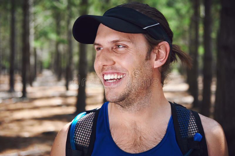 Healthy trail runner stock photography