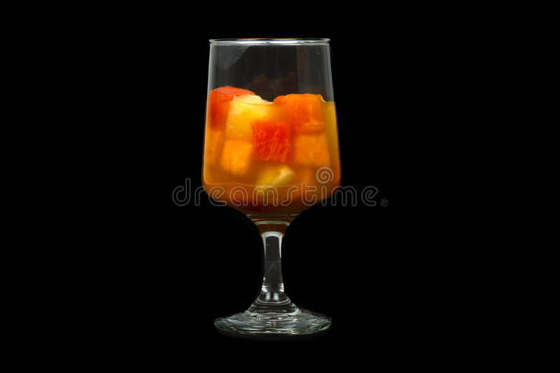 Healthy Tropical Fruit Cocktail. With Grapefruit, Pineapple, and Papaya royalty free stock images