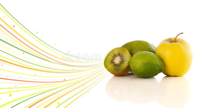 Download Healthy Tropical Fruits With Colorful Abstract Lines Stock Illustration - Image: 42771344
