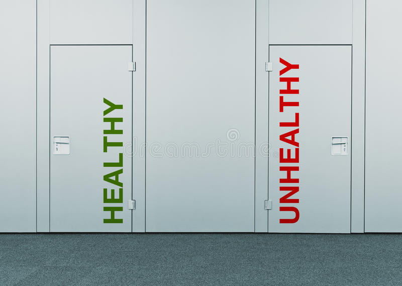 Healthy or unhealthy, concept of choice royalty free stock photo