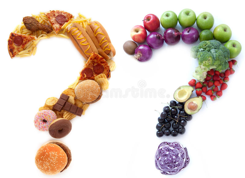 Stock Photo Healthy Unhealthy Food Choices Ingredients Shape Question Marks Alongside Each Other Image59382935
