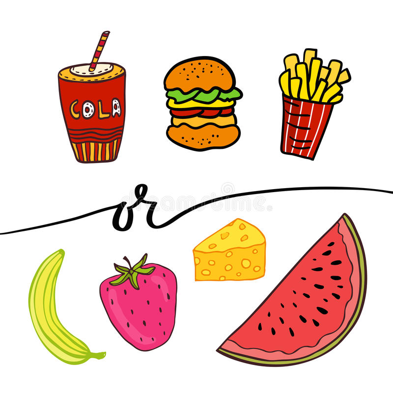 Healthy and unhealthy food. Doodle street food. Hand drawn vector set stock illustration