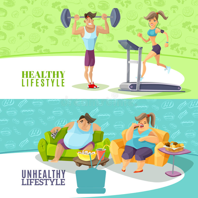 Healthy And Unhealthy People Horizontal Banners Set royalty free illustration