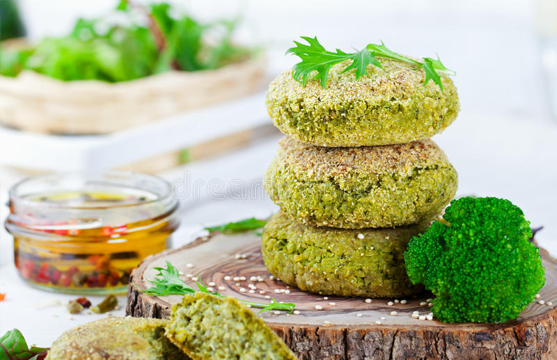 Healthy vegan burger with broccoli, spinach patty royalty free stock photography