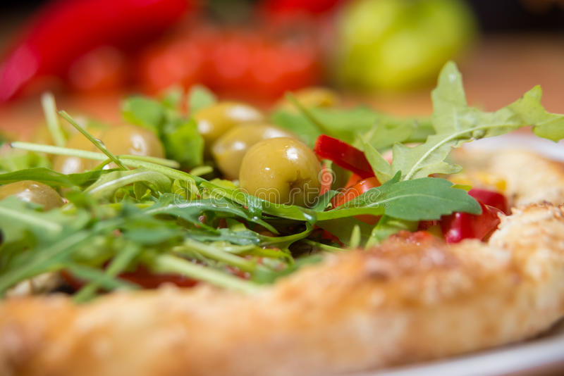 Healthy vegan pizza closeup royalty free stock image