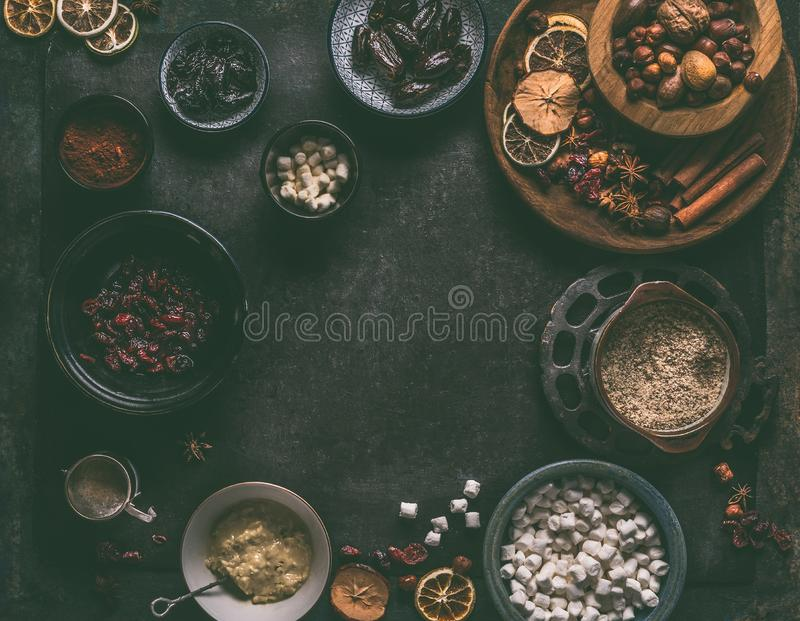 Healthy vegan truffle ingredients : dates, dried cranberries, prunes,nuts, almond paste, ground almonds, cocoa powder stock photos