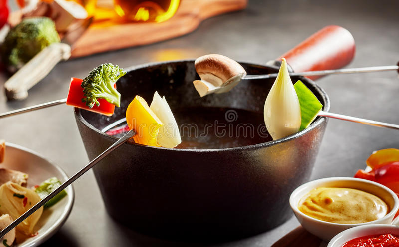 Healthy vegetable fondue with fresh produce royalty free stock photos