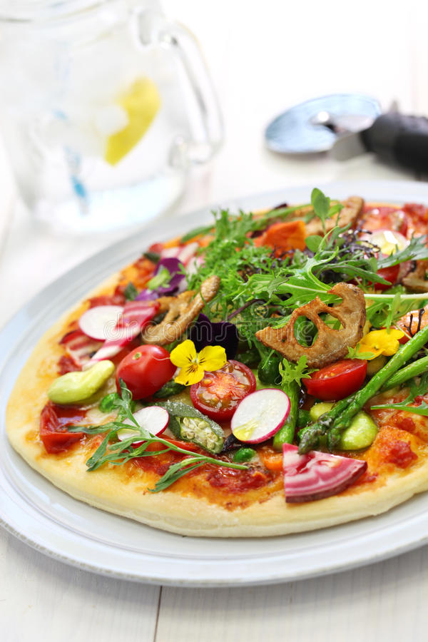 Healthy vegetable pizza royalty free stock images