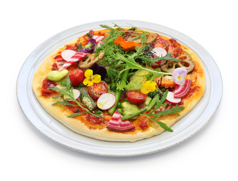 Healthy vegetable pizza stock photos