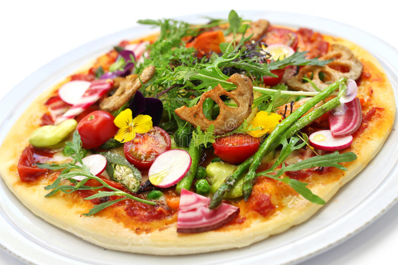 Healthy vegetable pizza royalty free stock photo