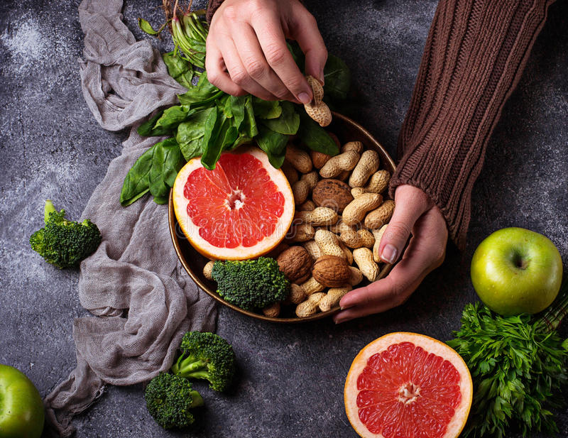 Healthy vegetarian food. Clean eating and raw diet concept stock image