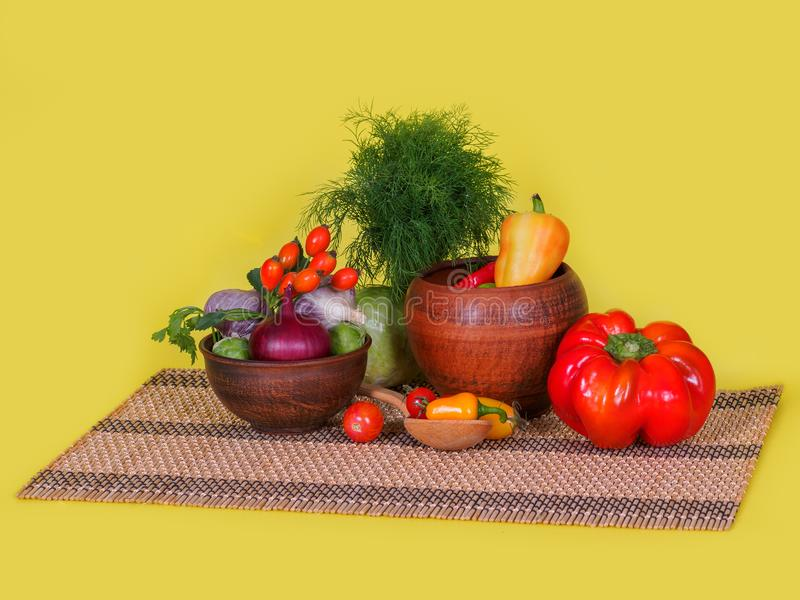 Still life of fresh, natural vegetables royalty free stock images