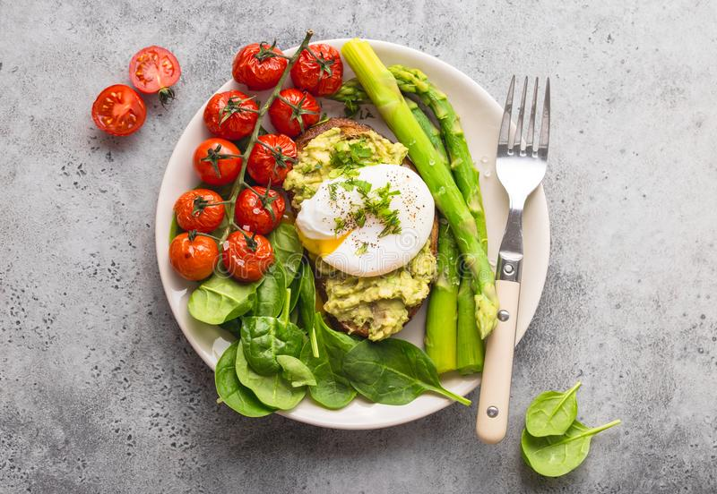 Healthy vegetarian meal plate stock image