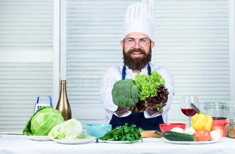 Healthy vegetarian recipe. Healthy nutrition concept. Bearded professional chef cooking healthy food. I choose only stock images