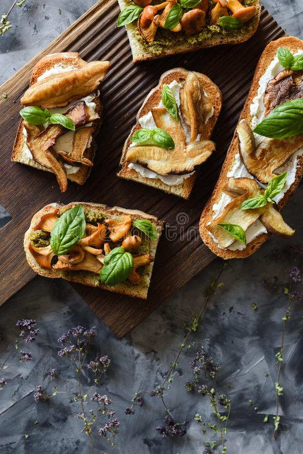 Healthy vegetarian snack. Chanterelle and porcini mushrooms fried on bruschettas with ricotta and basil leaves on dark background royalty free stock images