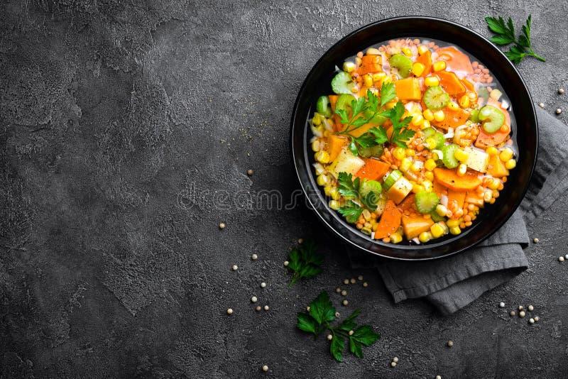 Healthy vegetarian vegetable soup with lentil and vegetables. Lentil soup. With vegetables stock photos