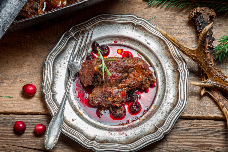 Healthy venison with cranberries and rosemary served stock photography