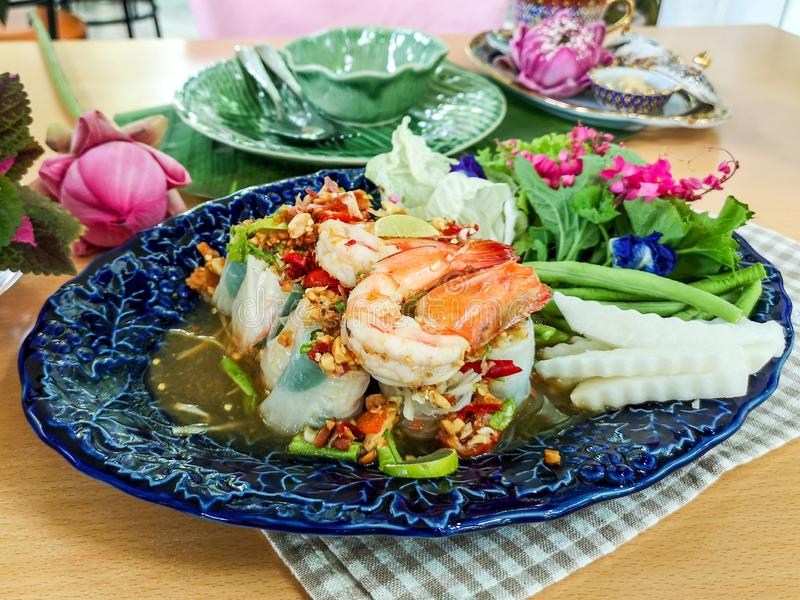 Healthy Vietnamese Salad Rolls with Shrimp in Finedining Restaurant stock images