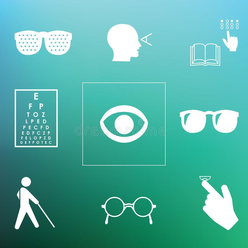 Healthy vision back. Vector illustration / healthy vision icons / eye problems and vision tests with glasses and lenses on blurred background vector illustration