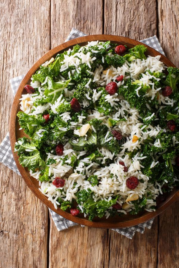 Healthy vitamin Kale with rice and cranberries close-up on a plate. Vertical top view royalty free stock images