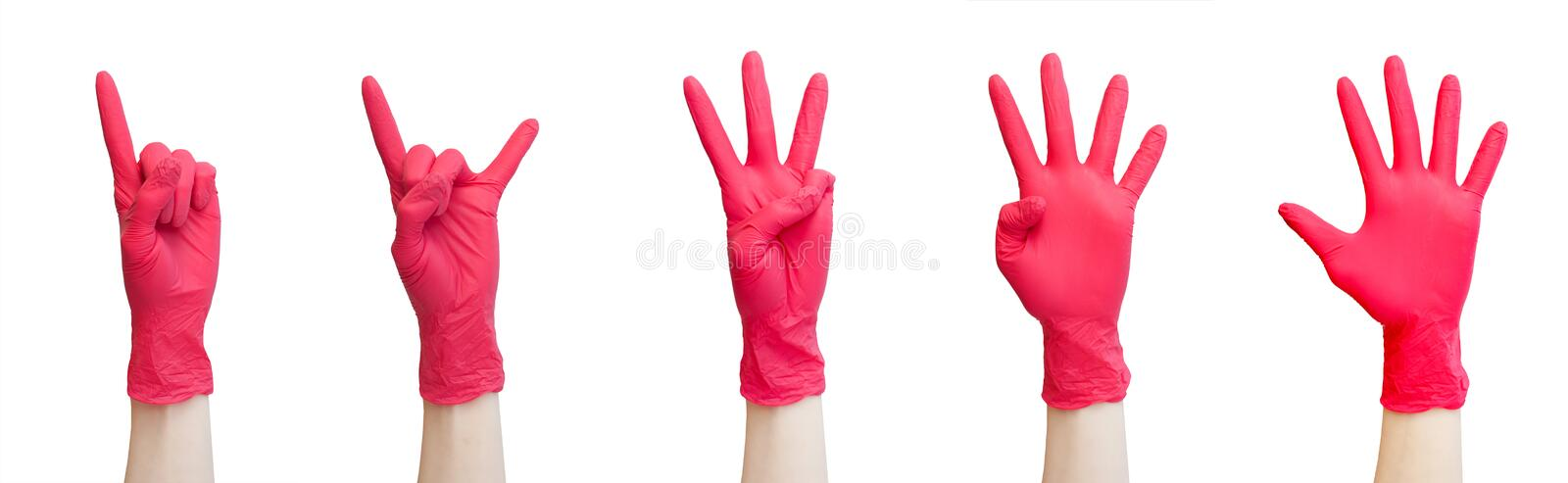 Healthy, vitamins, vaccination, medical store, pharmacy, recovery, proper nutrition concept - Signs made of red medical gloves. Fi royalty free stock photos