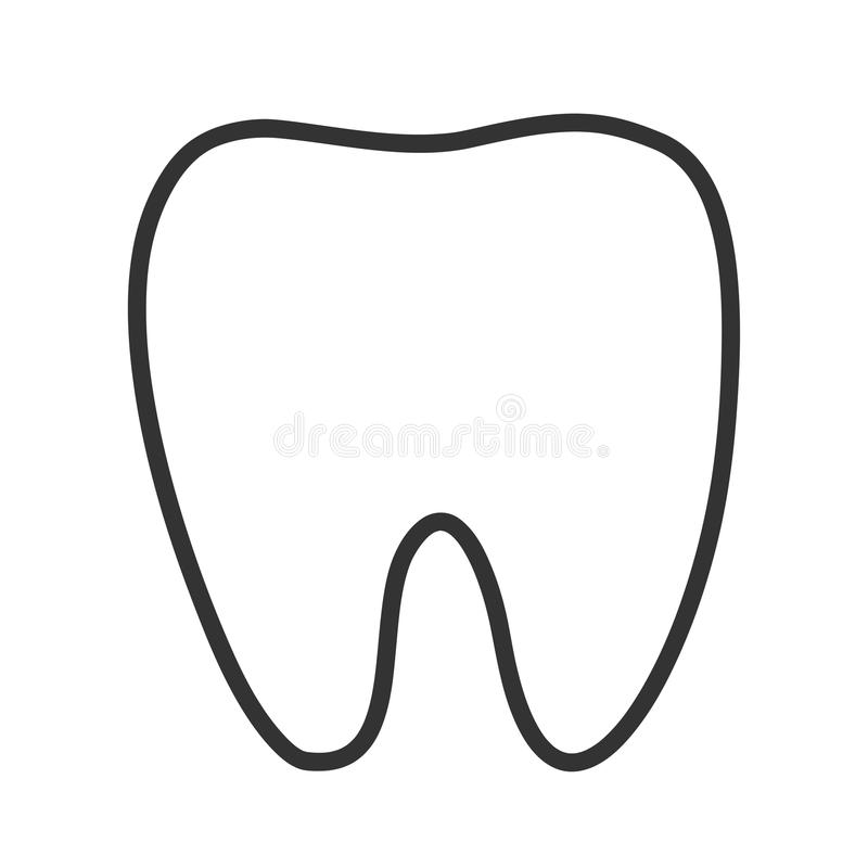 Healthy White Tooth Black contour one line silhouette icon. Oral dental hygiene. Whitening concept. Children teeth care. Blue back. Ground. Flat design. Vector vector illustration