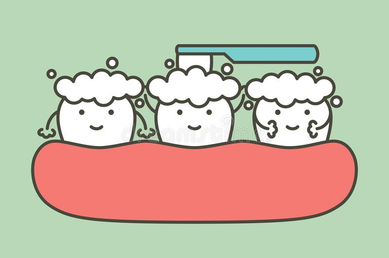 Healthy white tooth and friend are brushing teeth - dental cartoon vector flat style vector illustration