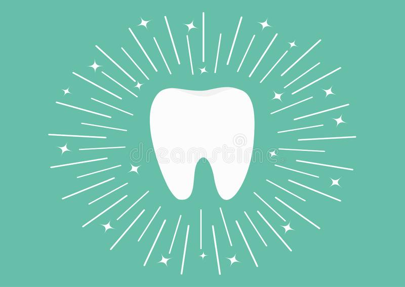 Healthy white tooth icon. Round line circle. Oral dental hygiene. Children teeth care. Shining effect stars. Green background. Fla. T design. Vector illustration royalty free illustration