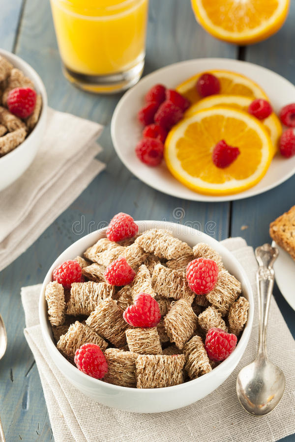 Healthy Whole Wheat Shredded Cereal. With Fruit for Breakfast royalty free stock image