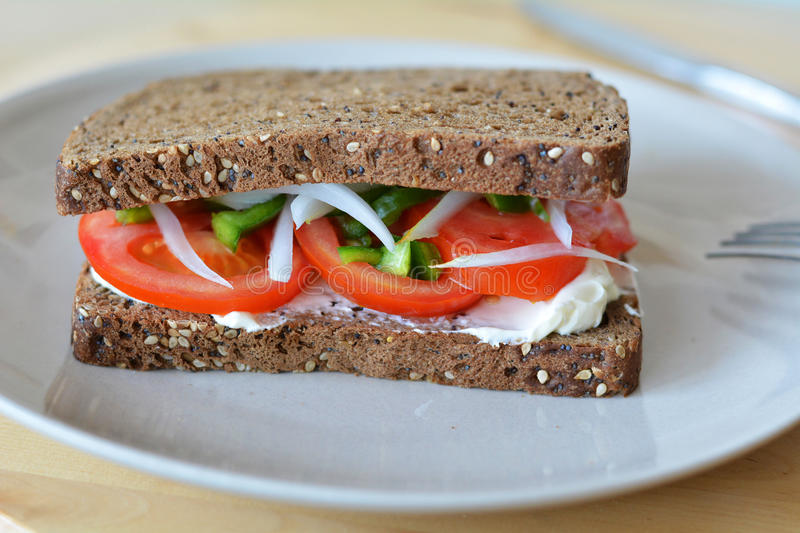 Healthy wholemeal sandwich with sliced tomatoes, vegetables and onion royalty free stock photography