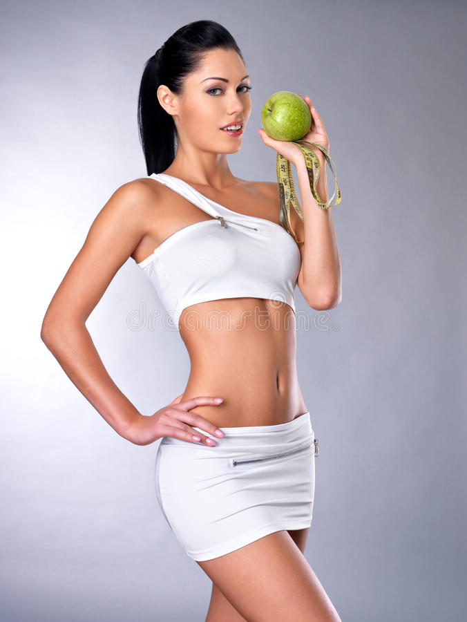 Download Healthy woman with apple stock photo. Image of natural - 27654974