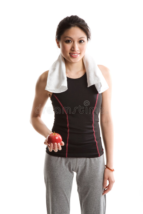 Healthy woman and apple stock photos