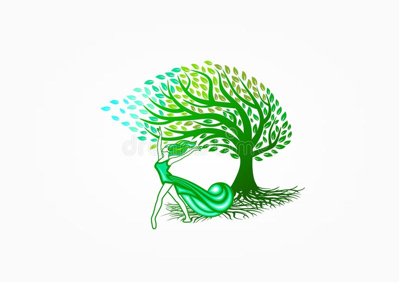 Healthy woman logo, nature relax symbol, tree spa icon, beauty massage, fashion care, female lifestyle and happy wellness concept. An illustration represent royalty free illustration