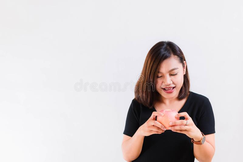 Healthy Woman Look at Delicious Apple royalty free stock photo