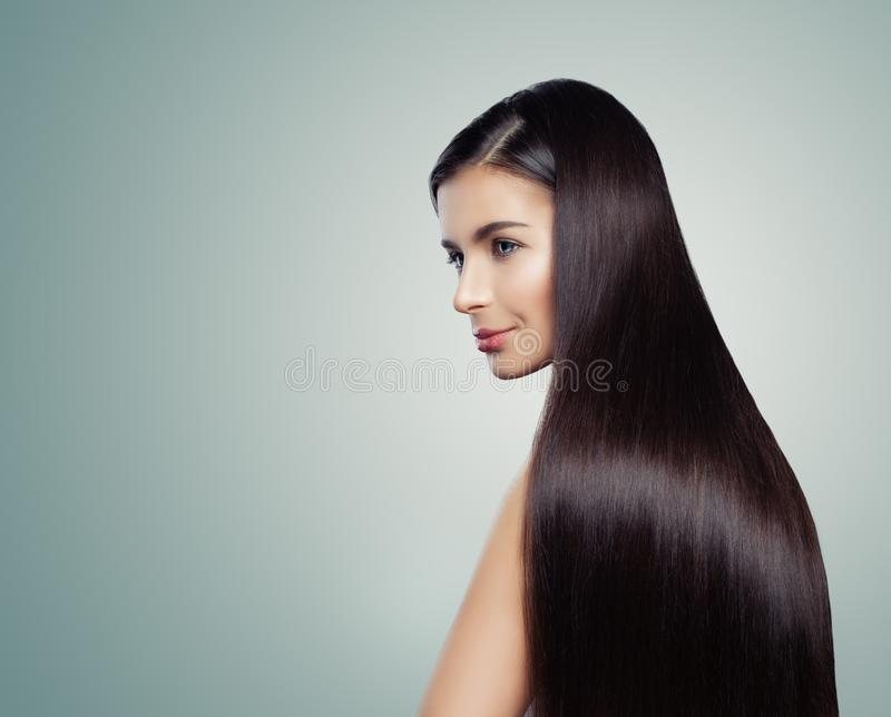 Healthy woman with straight hair, fashion portrait. royalty free stock photo