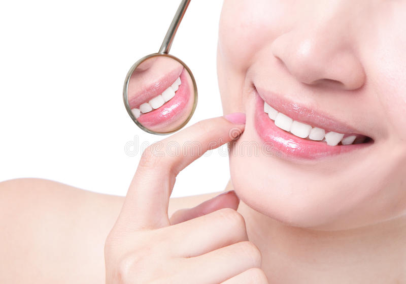 Healthy woman teeth and a dentist mouth mirror royalty free stock photo