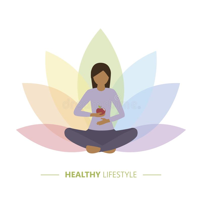 Free Healthy Yoga Girl With Apple On Colorful Lotus Flower Background Royalty Free Stock Images - 216040019