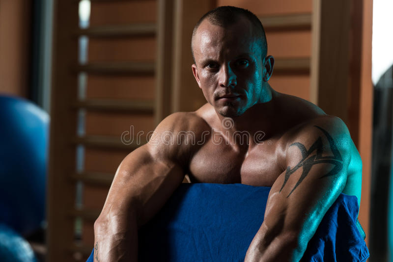 Healthy Young Man Resting In Health Club stock photo