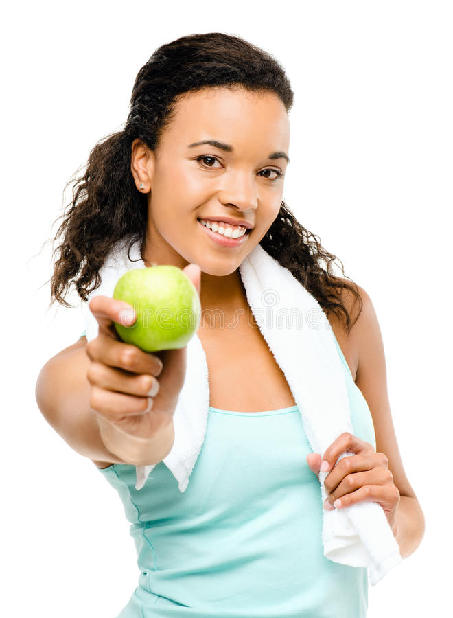 Free Healthy Young Mixed Race Woman Holding Green Apple Isolated On W Royalty Free Stock Image - 31074216