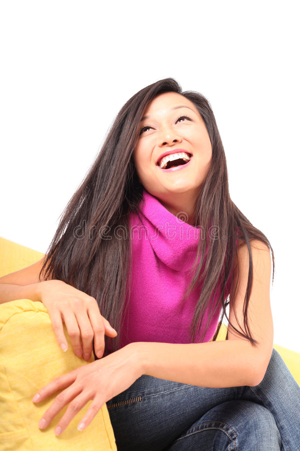Healthy young woman laughing royalty free stock images