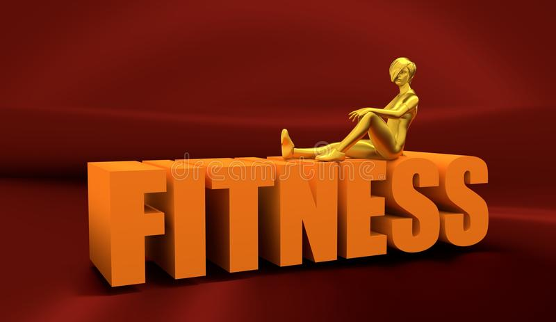Healthy young woman model sit on the fitness word royalty free stock photo