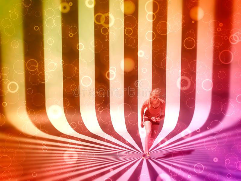 Healthy young woman preparing for a run. Fit female athlete ready for a spring over striped scroll background stock photography