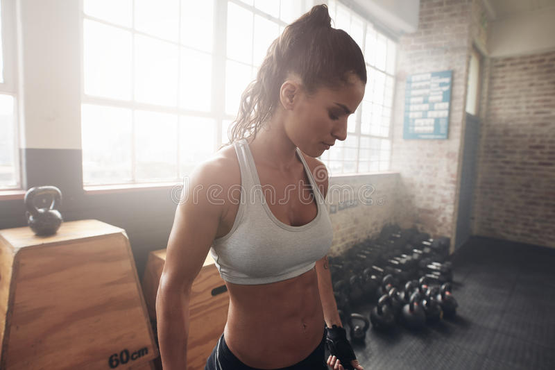 Healthy young woman standing in the gym. Portrait of healthy young woman in sportswear standing in the gym. Fitness female in sportsbra looking down stock images