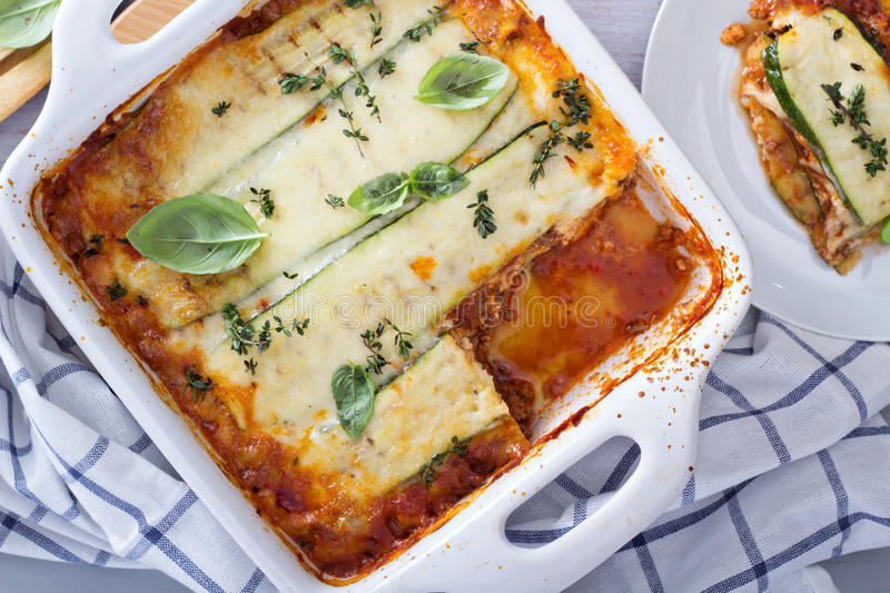 Healthy zucchini lasagna bolognese. In a baking dish royalty free stock photos