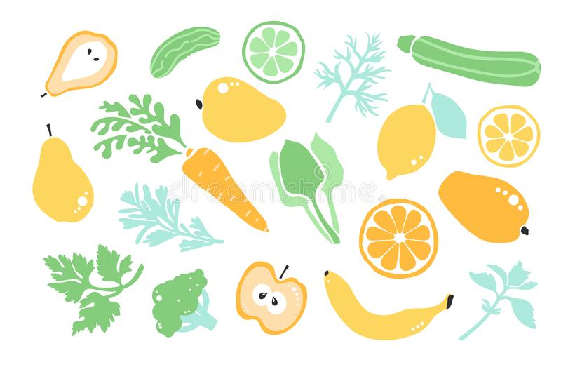 Healty τρόφιμα Vegan Καθορισμένη πρασινάδα λαχανικών φρούτων Detox απεικόνιση αποθεμάτων