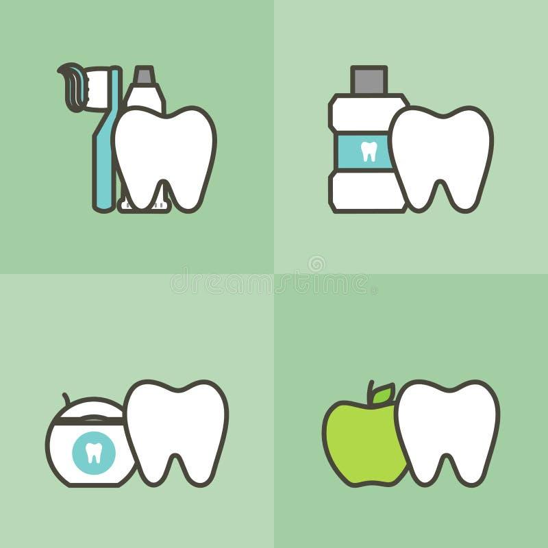 Healty-Zahn und beste Freunde Zahnbürste, Zahnpasta, Mundwasser, Glasschlacke und Apfel, Zahnpflege und Hygienekonzept stock abbildung